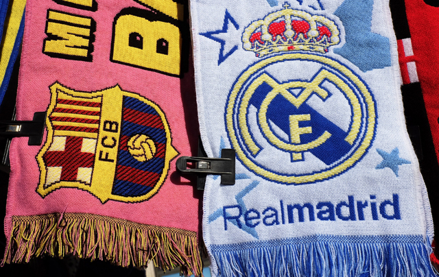 Real Madrid and FC Barcelona scarfs