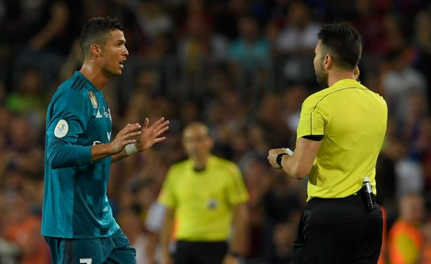 RONALDO COULD FACE A LENGTHY BAN FOR SHOVE ON REFEREE