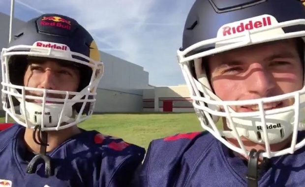 Watch : Daniel Ricciardo and Max Verstappen trying out American football