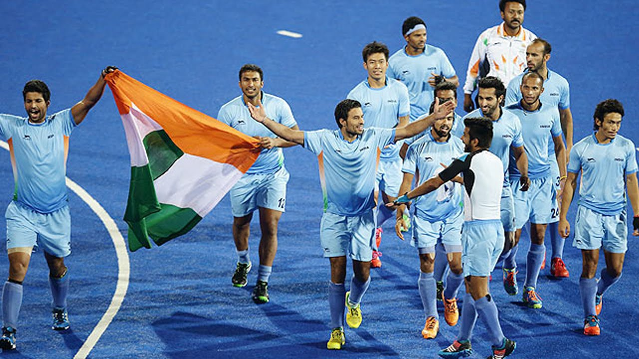 Indian hockey team celebrating