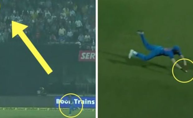 Watch : Incredible catch from Hardik Pandya on ropes to dismiss Martin Guptill
