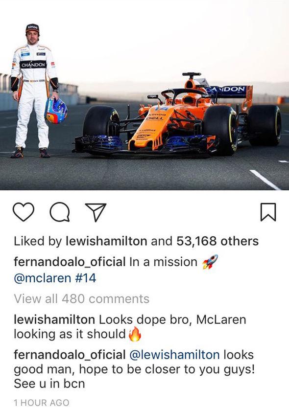 Fernando alonso Lewis Hamilton instagram