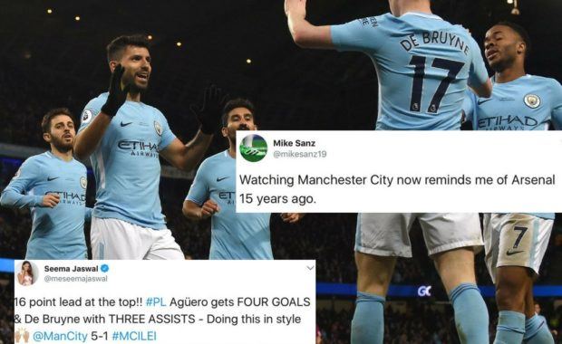 Twitter reacts as Manchester City crush Leicester City by 5-1