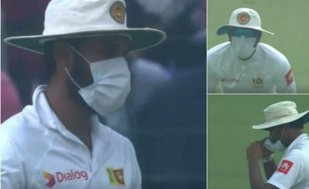 Delhi Test : Sri Lankan players come out wearing masks, not happy with conditions